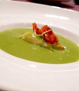 Asparagus and Ham Soup, mortadella mousse, proscuitto di Parma, Botticino, Trident BKC, Mumbai