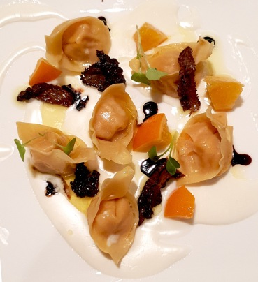 Butternut squash tortellini with candied orange, morels and parmesan fondue, Botticino, Trident BKC, Mumbai
