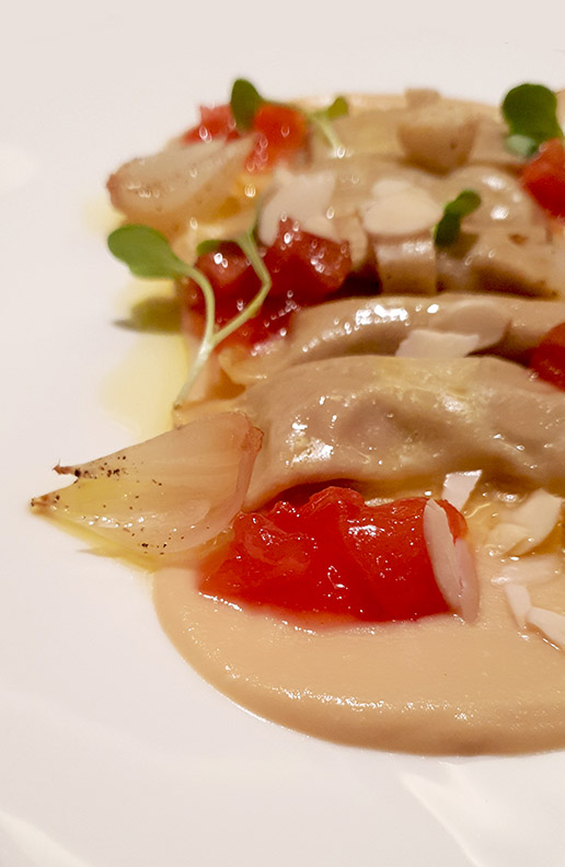 Chicken liver tubetti, celeriac puree, sweet onion, homemade mostarda, Botticino, Trident BKC, Mumbai