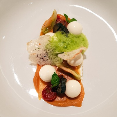 Twice cooked mozzarella, eggplant, heirloom tomatoes, basil foam, Botticino, Trident BKC, Mumbai