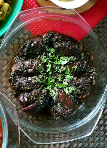 Stuffed Brinjal, Spices and Friends